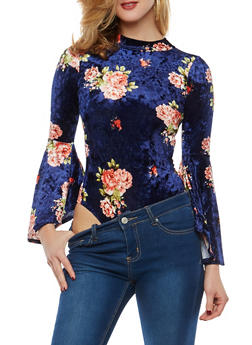 Floral Crushed Velvet Bodysuit - 1307074290749
