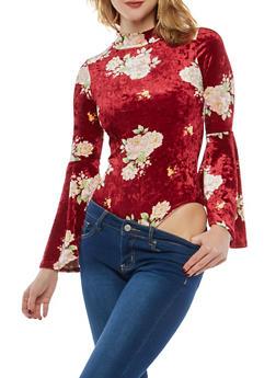 Floral Crushed Velvet Bodysuit - BURGUNDY - 1307074290749