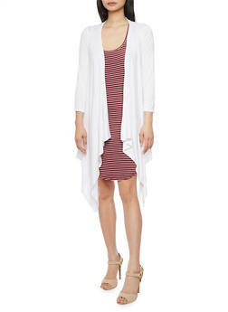 Long Sleeve Asymmetrical Duster - WHITE - 1308038347108