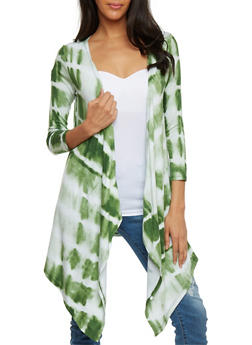 Draped Tie Dye Open Front Cardigan - 1308038347110