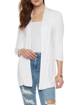 Draped Open Cardigan with 3/4 Sleeves - WHITE - 1308038347111