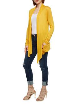 Solid Light Weight Long Sleeve Cardigan - MUSTARD - 1308054261612