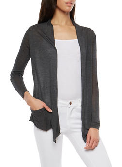 Light Weight Drape Front Cardigan - CHARCOAL - 1308054261613