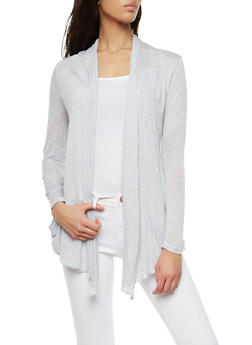 Light Weight Drape Front Cardigan - HEATHER - 1308054261613