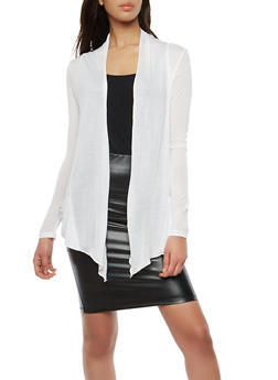 Light Weight Drape Front Cardigan - WHITE - 1308054261613