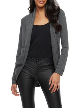 Solid Open Front Cardigan - 1308054261743