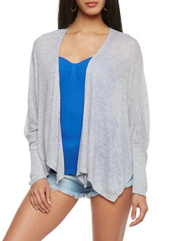 Marled Open Front Light Weight Cardigan - 1308054267730