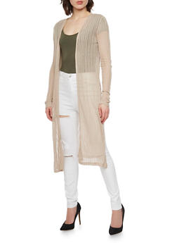 Long Sleeve Knit Duster Cardigan with Side Slits - 1308054268230