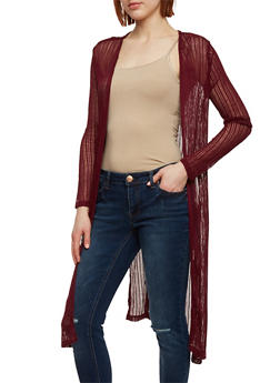Long Sleeve Knit Duster Cardigan with Side Slits - BURGUNDY - 1308054268230