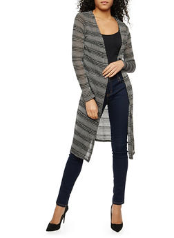 Striped Open Front Thermal Duster - 1308058750456