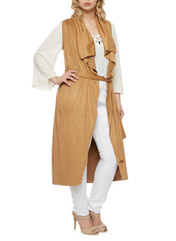 Belted Duster in Faux Suede - 1308067330129