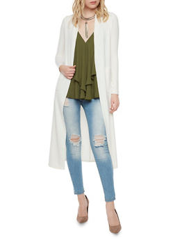 Ribbed Duster with Long Sleeves - IVORY - 1308067330130