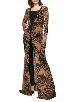 Palm Leaf Print Mesh Duster - 1308067330249