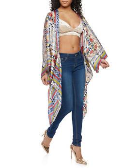 Printed Flyaway Satin Kimono - 1308074290130