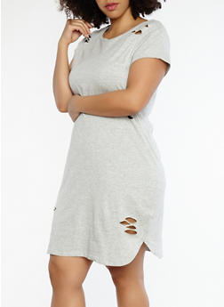 Plus Size Distressed T Shirt Dress - 1390015050065