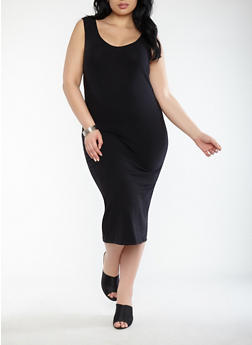 Plus Size Scoop Neck Bodycon Dress - BLACK - 1390015050350