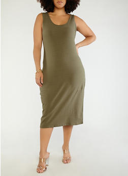 Plus Size Scoop Neck Bodycon Dress - OLIVE - 1390015050350