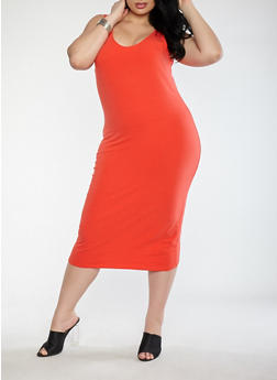 Plus Size Scoop Neck Bodycon Dress - RED - 1390015050350