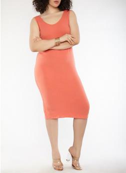 Plus Size Scoop Neck Bodycon Dress - RUST - 1390015050350