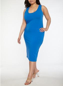 Plus Size Scoop Neck Bodycon Dress - BLUE - 1390015050350