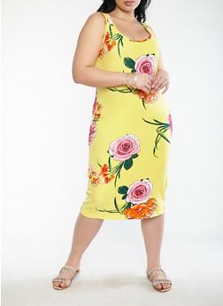 Plus Size Floral Bodycon Dress - 1390015050384