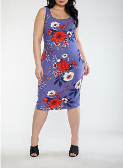 Plus Size Floral Bodycon Dress - 1390015050384