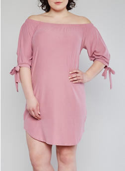 Plus Size Solid Off the Shoulder Dress with Tie Sleeves - 1390015050633