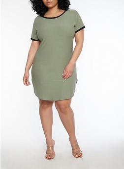 Plus Size Contrast Trim T Shirt Dress - 1390015050688