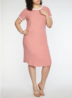 Plus Size Soft Knit Contrast Trim T Shirt Dress - 1390015050689