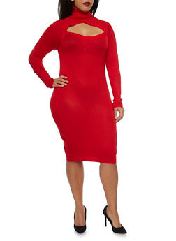 Plus Size Turtleneck Bodycon Sweater Dress with Cutout - RED - 1390038346351