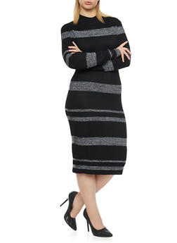 Plus Size Long Sleeves Ribbed Midi Dress - 1390038346359