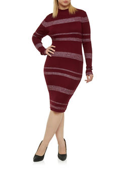 Plus Size Long Sleeves Ribbed Midi Dress - WINE - 1390038346359