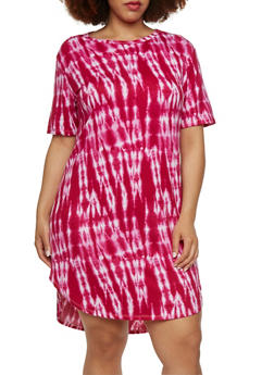Plus Size Tunic Top with Tie Dye Print and Short Sleeves - 1390038346403