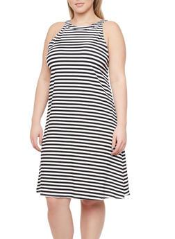 Plus Size Striped Swing Dress with Back Keyhole Cutout - 1390038346802