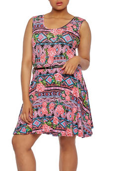Plus Size Printed Skater Dress with Belt - 1390038346817