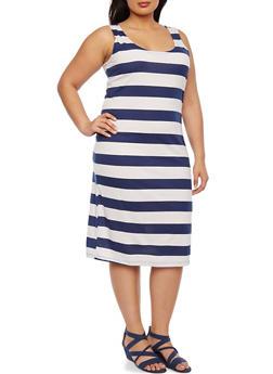 Plus Size Striped Midi Dress - 1390038346930