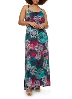 Plus Size Empire Waist Maxi Dress with Ornate Print and Tied Back - 1390038346936