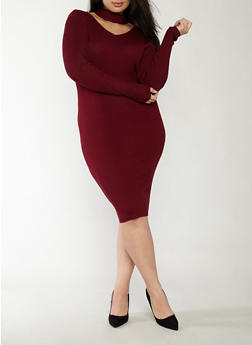 Plus Size Rib Knit Keyhole Neck Sweater Dress - 1390038347364