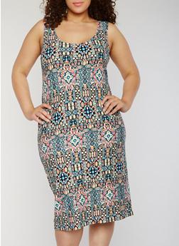 Plus Size Printed Scoop Neck Bodycon Dress - 1390038347620