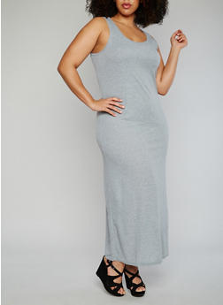 Plus Size Tank Maxi Dress - 1390038347802