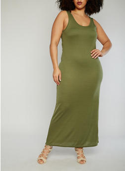 Plus Size Tank Maxi Dress - 1390038347802