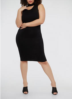 Plus Size Rib Knit Choker Neck Dress - BLACK - 1390038347816