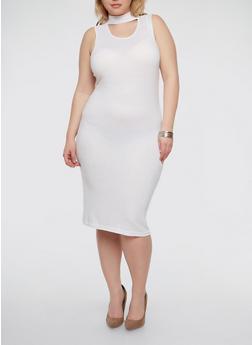 Plus Size Rib Knit Choker Neck Dress - WHITE - 1390038347816