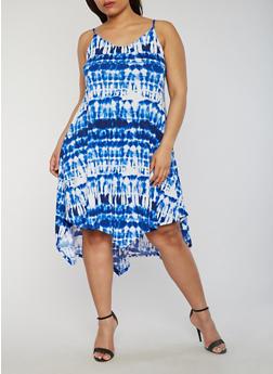 Plus Size Sleeveless Tie Dye Dress with Asymmetrical Hem - 1390038347826
