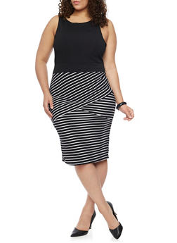 Plus Size Mid Length Sleeveless Dress with  Asymmetrical Stripes - BLACK/WHITE - 1390038347854