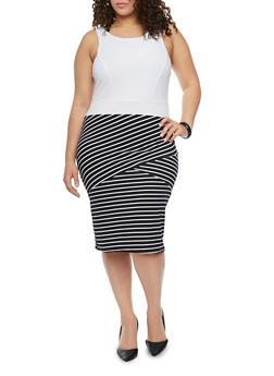 Plus Size Mid Length Sleeveless Dress with  Asymmetrical Stripes - WHT-BLK - 1390038347854