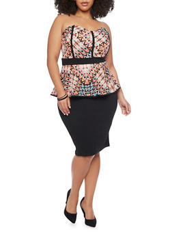 Plus Size Printed Peplum Dress - 1390038347857