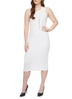 Plus Size Textured Knit Bodycon Dress with Crew Neck and Necklace - WHITE - 1390038347860