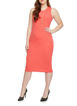 Plus Size Textured Knit Bodycon Dress with Crew Neck and Necklace - 1390038347860
