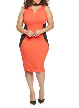 Plus Size Textured Knit Colorblock Midi Dress - 1390038347861